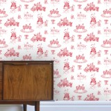 """Lovely Toile du Jouy"" Wallpaper (crimson)"