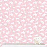 """Origami Animals"" wallpaper - pink"
