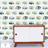 """Vintage Caravans"" wallpaper panel"